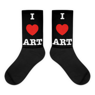 """I Love ART"" All Black foot socks"